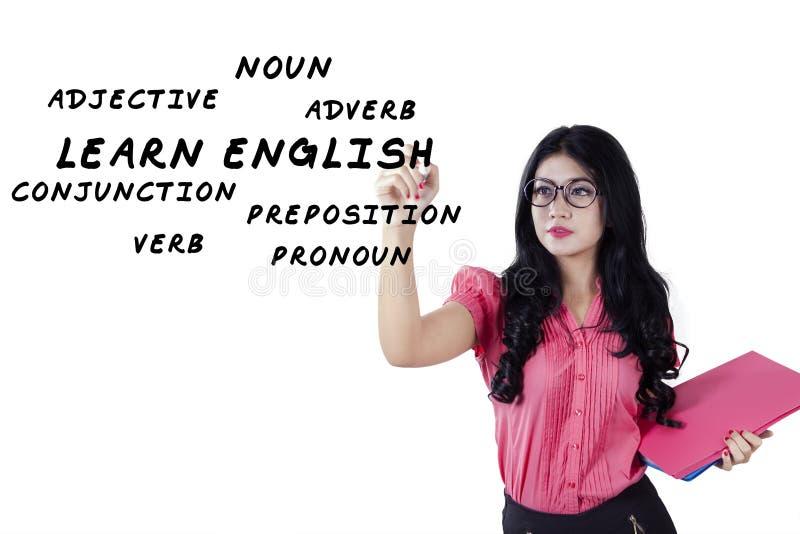 Młody nauczyciel angielskiego pisze lekcyjnym materiale zdjęcie royalty free