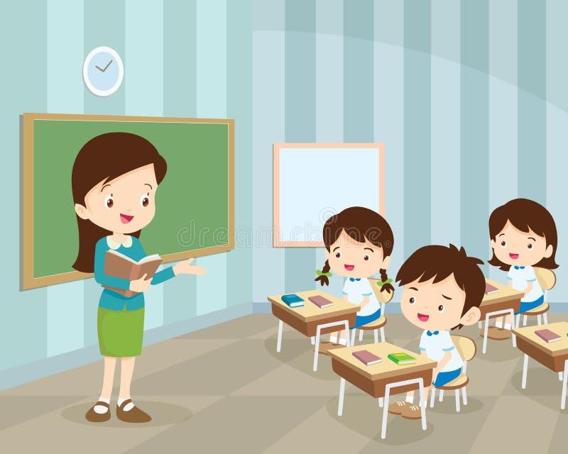 Młody nauczyciel i ucznie w sala lekcyjnej ilustracja wektor