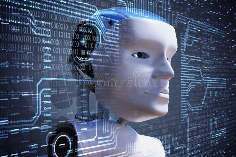 Młody naukowiec kontroluje mechaniczną głowę sztuczny móżdżkowy obwodów pojęcia elektronicznej inteligenci mainboard 3D odpłacają ilustracji