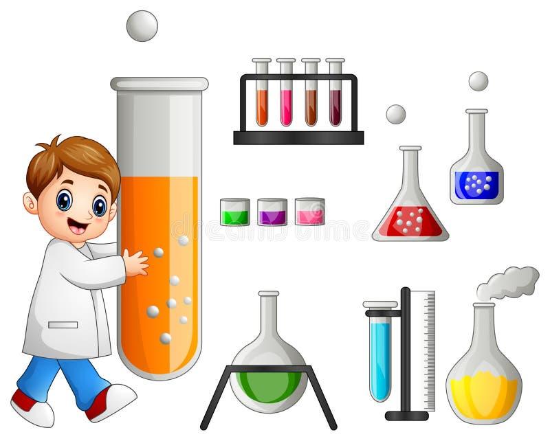 Młody naukowiec trzyma próbnej tubki i laboranckiego wyposażenia ilustracja wektor
