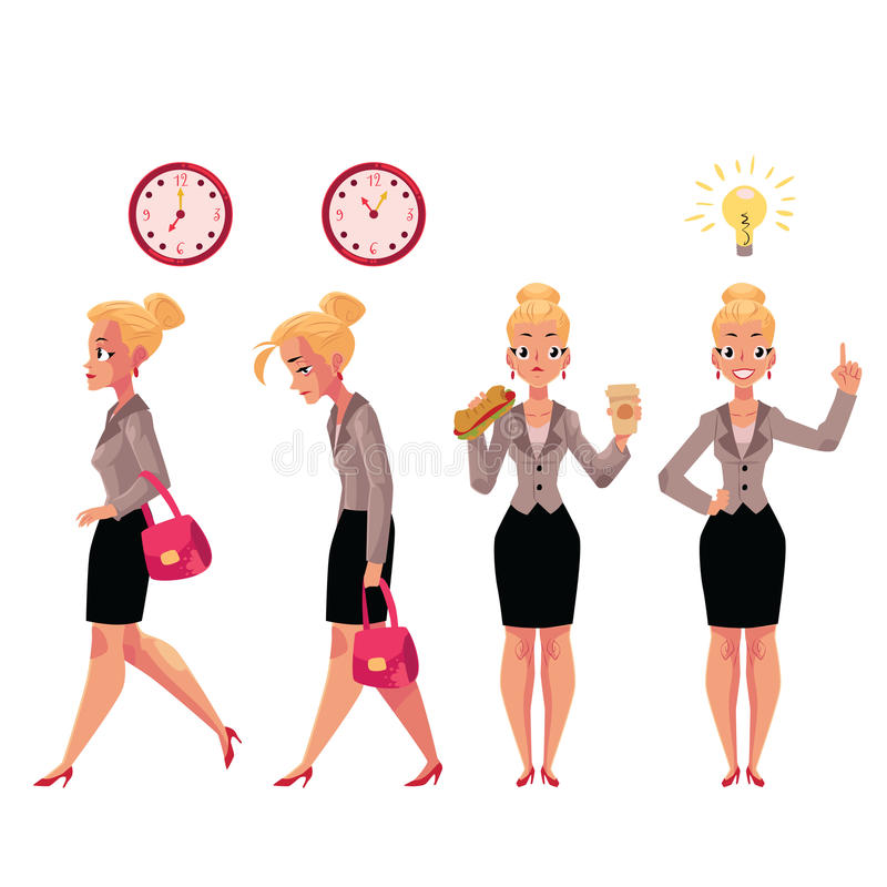 Młody piękny bizneswoman w różnorodnych biznesowych sytuacjach ilustracji