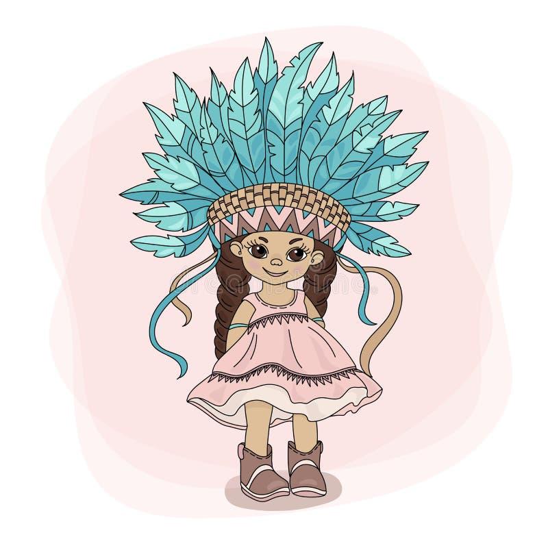 MŁODY POCAHONTAS Princess Bohater ilustracji Indiański Wektorowy set ilustracji
