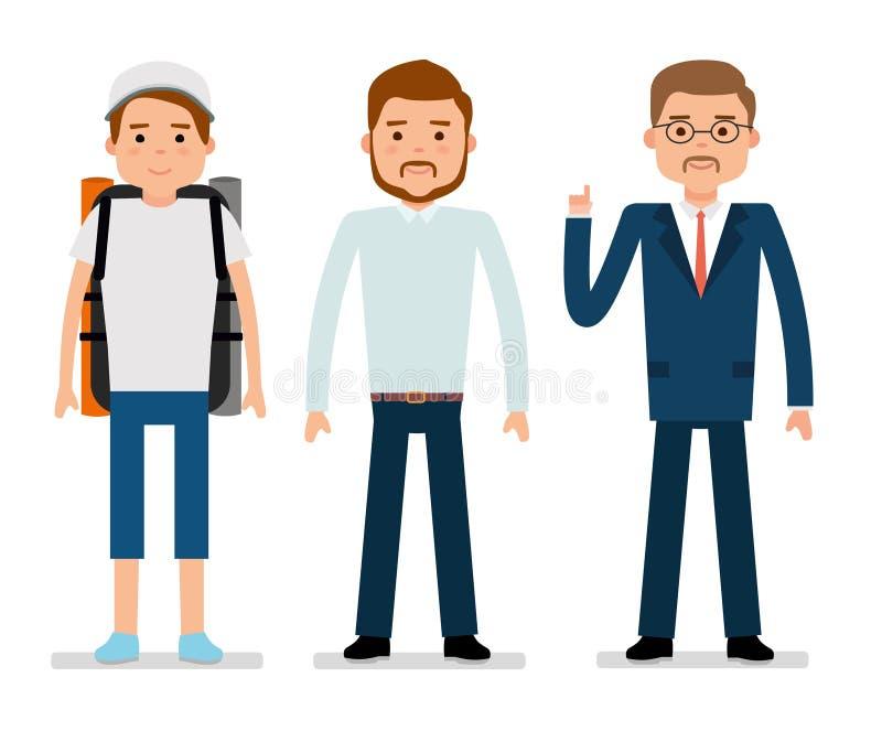 Młody podróżnik, urzędnik i biznesmen, Biały tło royalty ilustracja