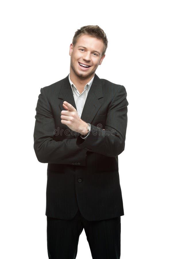 Młody pomyślny uśmiechnięty biznesmen fotografia stock