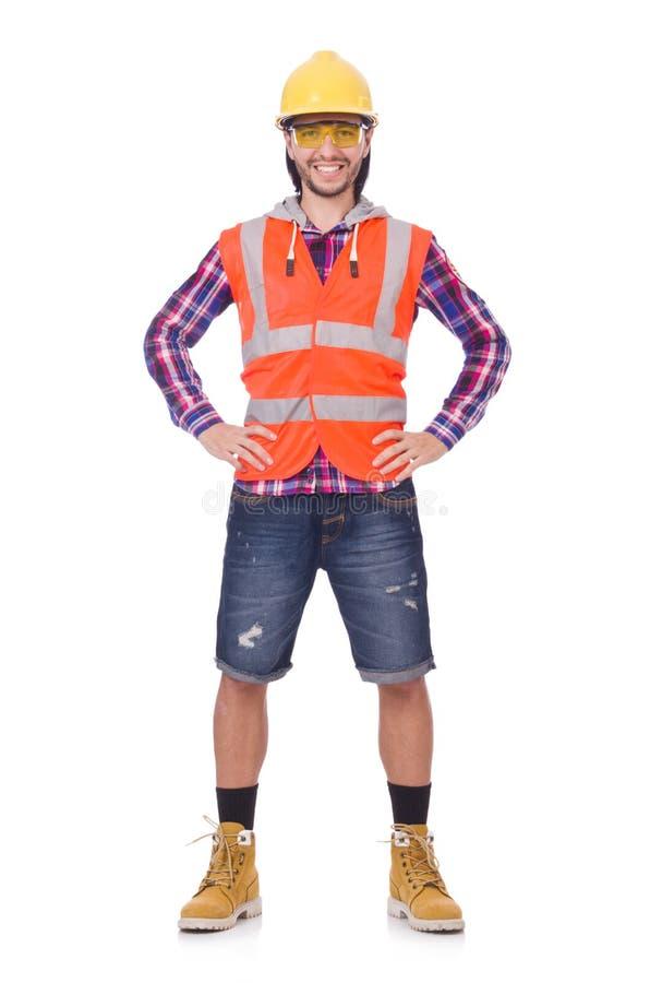 Młody pracownik budowlany w hełmie i wytyczne obrazy stock