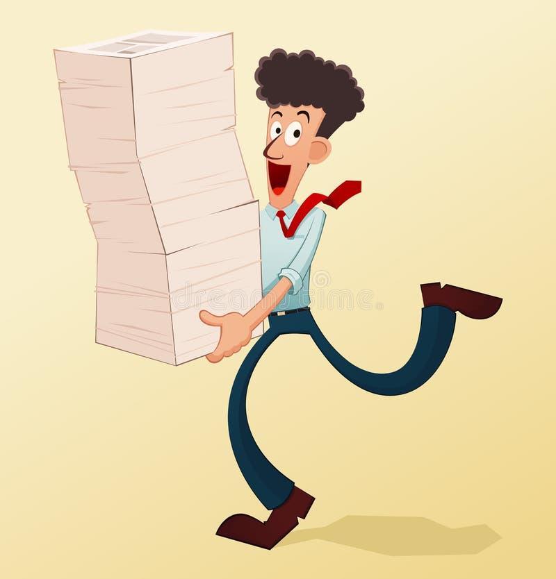Młody pracownik i dokumenty royalty ilustracja