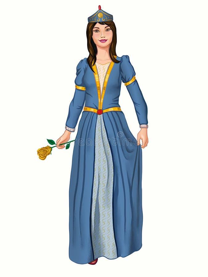 Młody princess w błękitnej sukni ilustracja wektor