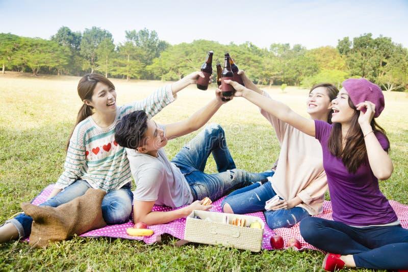 Młody przyjaciół cieszyć się pykniczny i pić piwo zdjęcie stock