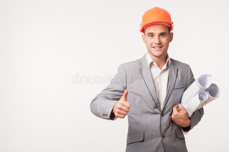 Młody przystojny architekta inżyniera pozować fotografia stock