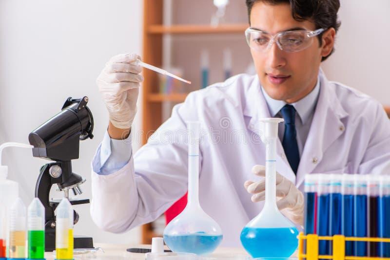 Młody przystojny biochemik pracuje w lab obrazy stock