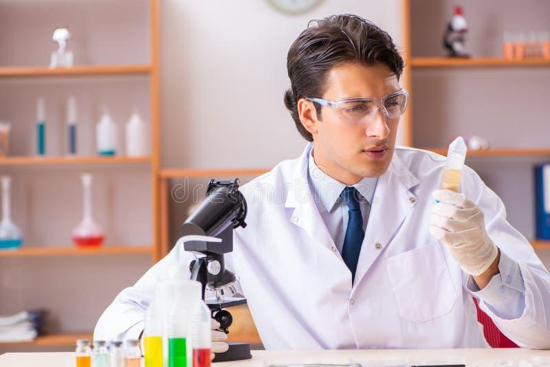 Młody przystojny biochemik pracuje w lab zdjęcie royalty free