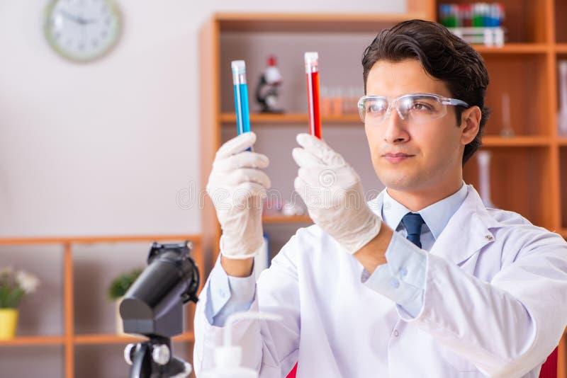 Młody przystojny biochemik pracuje w lab obraz royalty free