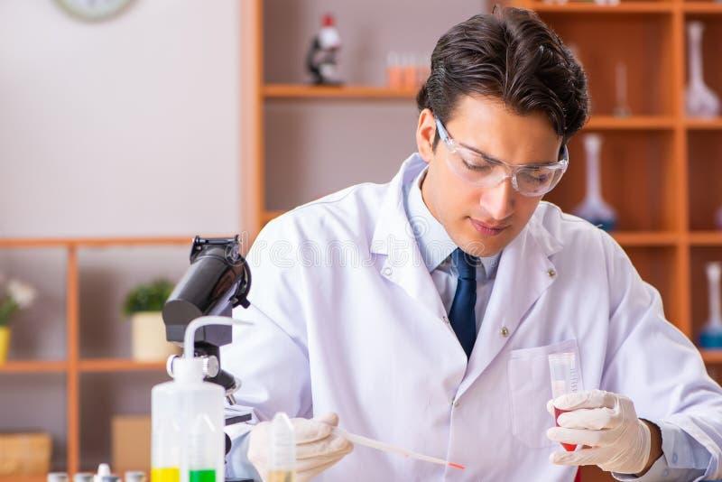 Młody przystojny biochemik pracuje w lab zdjęcie stock