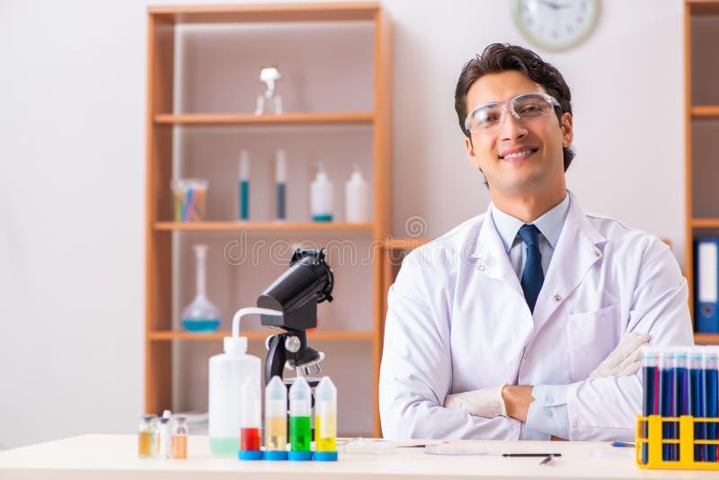 Młody przystojny biochemik pracuje w lab fotografia royalty free