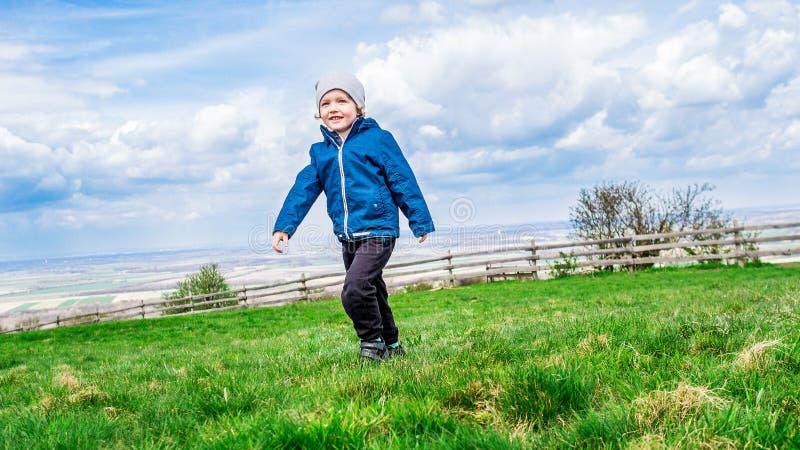 Młody przystojny chłopiec odprowadzenie na zielonej trawie fotografia stock