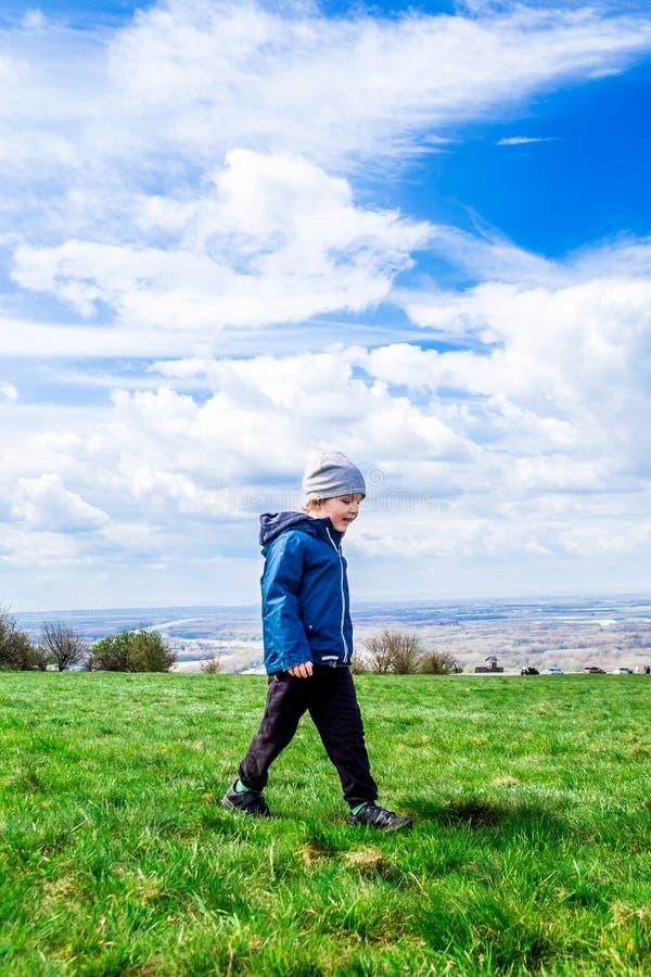 Młody przystojny chłopiec odprowadzenie na zielonej trawie zdjęcie royalty free