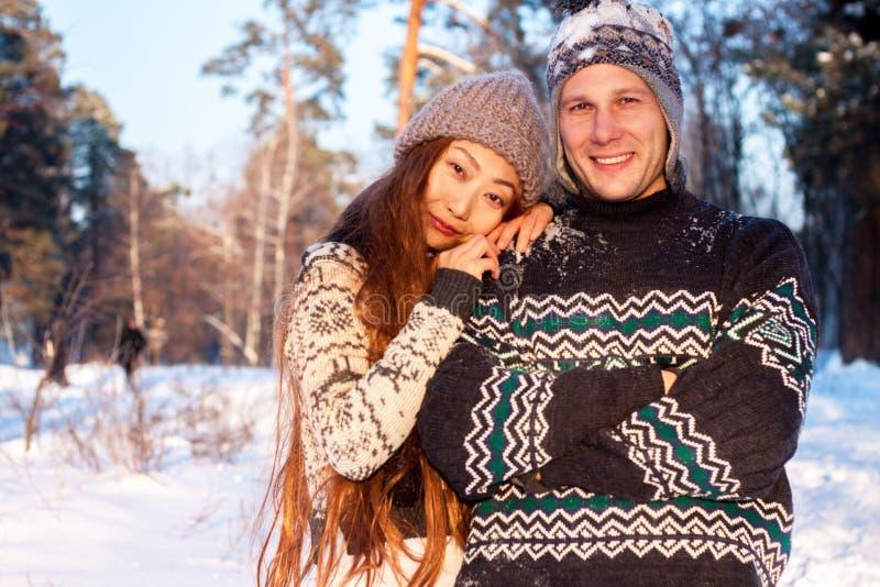 Młody przystojny mężczyzna Europejski pojawienie i młoda Azjatycka dziewczyna w parku na naturze w zimie obrazy royalty free