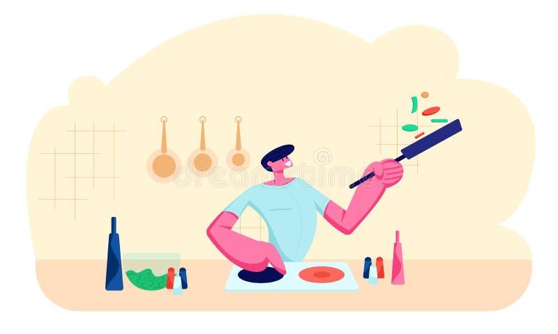Młody Przystojny mężczyzny kucharstwo na kuchni w domu Szczęśliwa Męskiego charakteru mienia niecka z jedzeniem, narządzanie posi royalty ilustracja