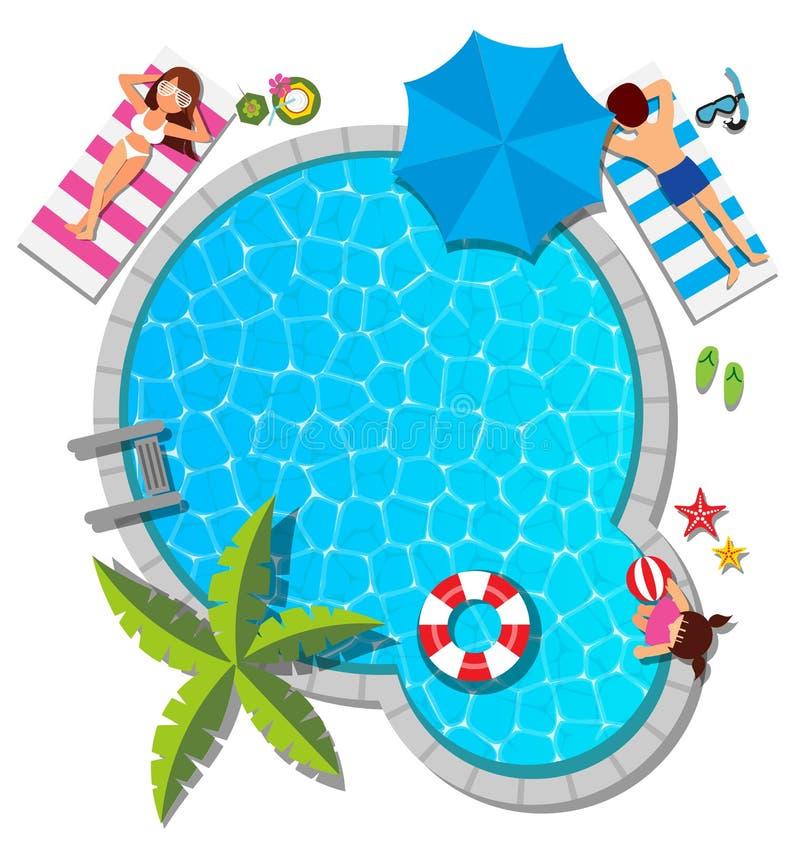 Młody rodzinny relaksować przy pływackim basenem dla lata royalty ilustracja