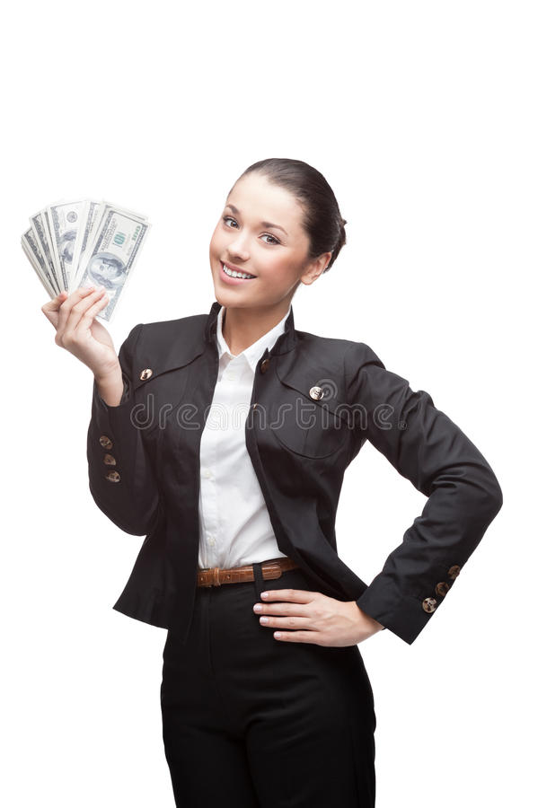 Młody rozochocony bizneswomanu mienia pieniądze obraz royalty free
