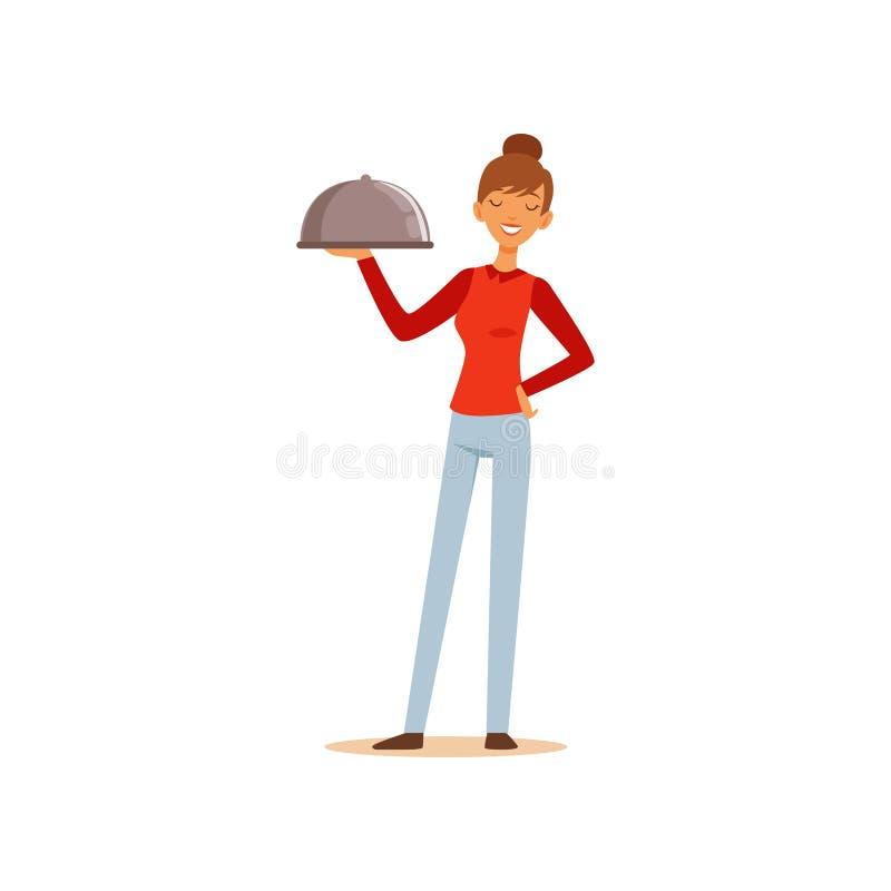 Młody rozochocony kobiety mienia półmiska cloche, gospodyni domowej dziewczyny kulinarny jedzenie w kuchennej płaskiej wektorowej ilustracja wektor