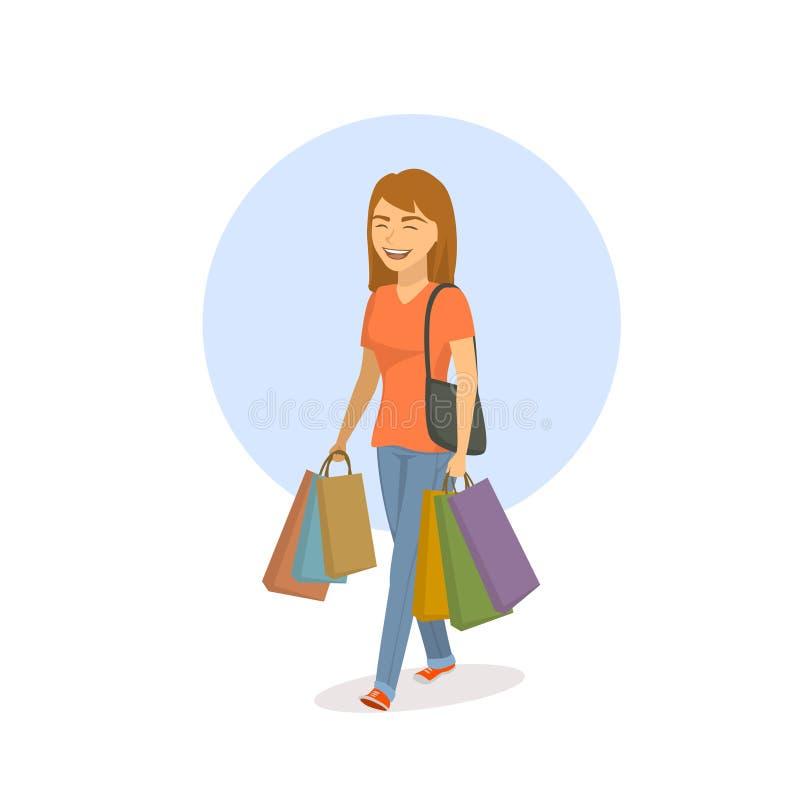 Młody rozochocony szczęśliwy kreskówki kobiety odprowadzenie z torba na zakupy ilustracji