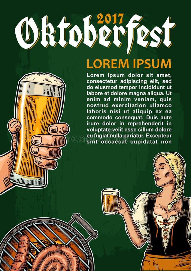 Młody seksowny Oktoberfest dziewczyny dirndl mienia i tana piwny kubek ilustracja wektor
