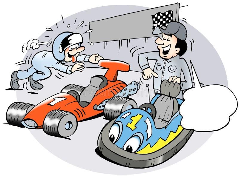 Młody setkarz wybiera mylnego samochód ilustracji