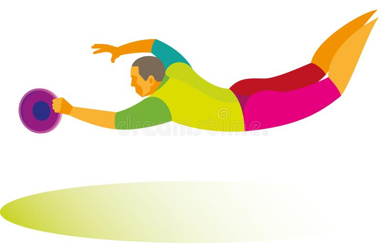 Młody skokowy gracz łapie latającego dyska w gemowym ultimat ilustracji