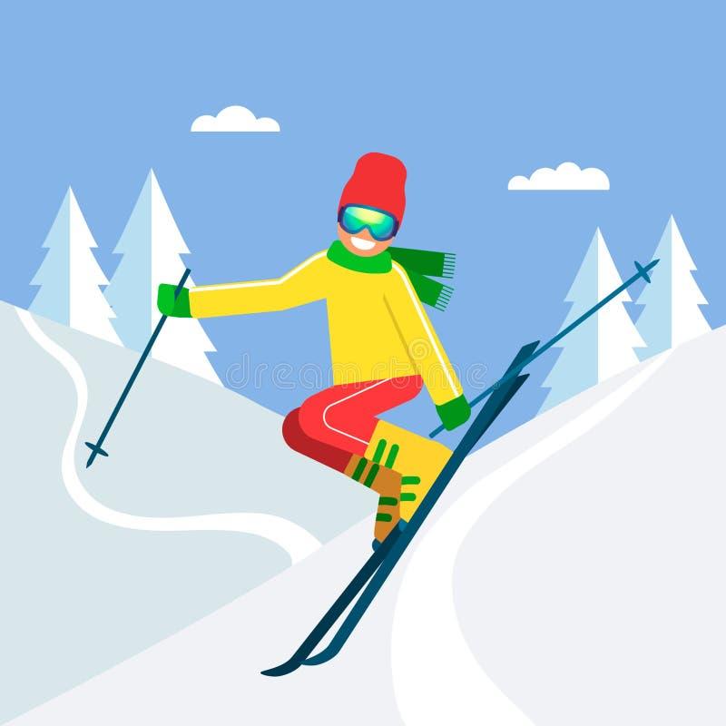 Młody sportowiec narciarki doskakiwanie na nartach od góry w tle zima las pojęcie sport i rywalizacja royalty ilustracja