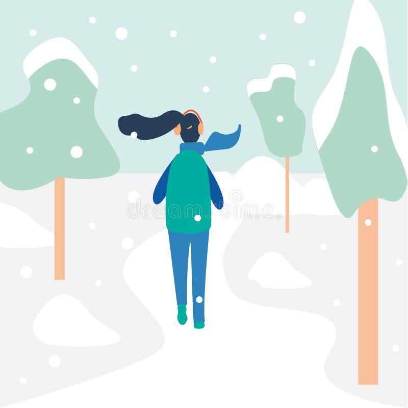 Młody sportsmenki jogging outside w zima lesie royalty ilustracja