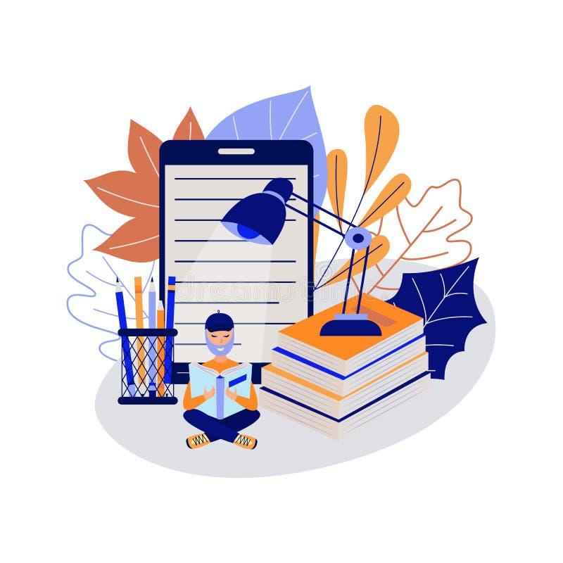Młody studencki siedzący skrzyżny na podłogowej i czytelniczej książce otaczającej dużymi szkolnymi dostawami ilustracji