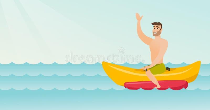 Młody szczęśliwy caucasian mężczyzna jedzie bananową łódź ilustracja wektor