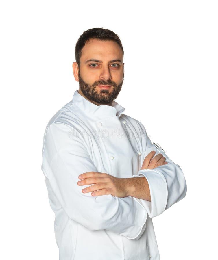 Młody szef kuchni na białym tle obraz royalty free