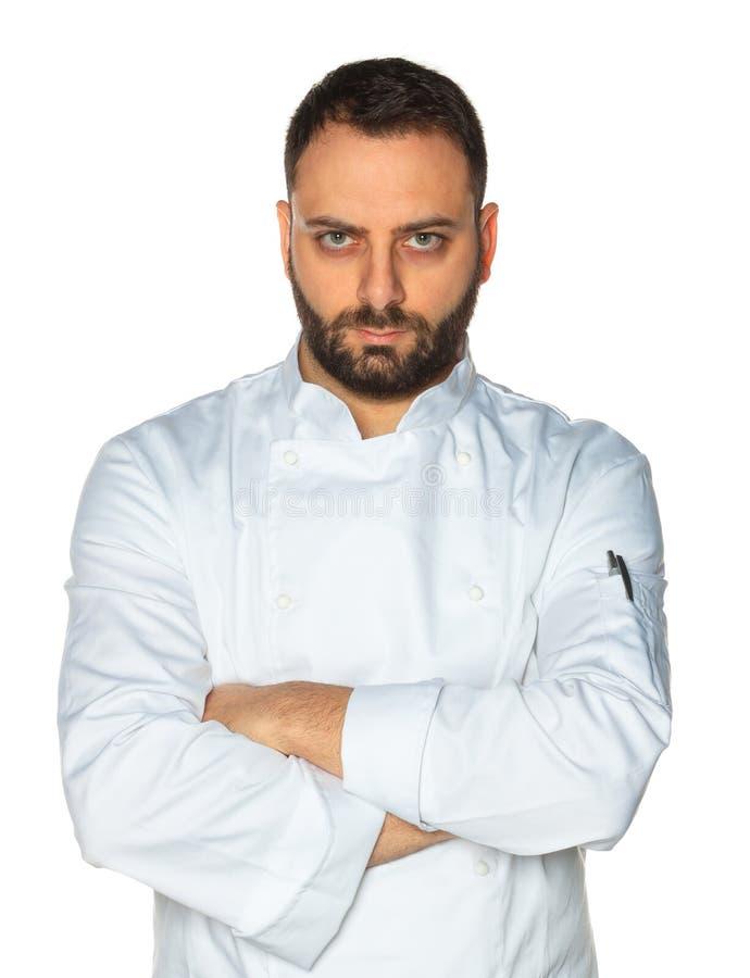 Młody szef kuchni na białym tle fotografia royalty free