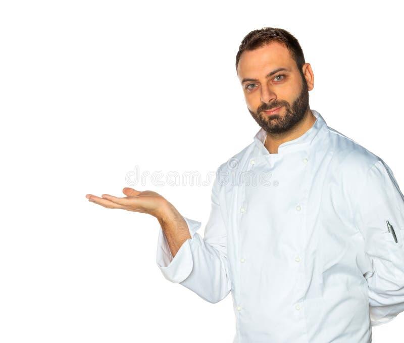 Młody szef kuchni na białym tle fotografia stock