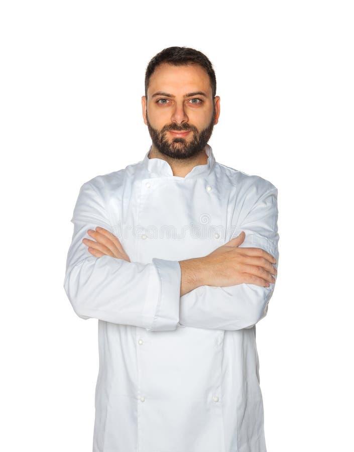 Młody szef kuchni na białym tle zdjęcia stock