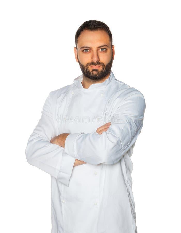 Młody szef kuchni na białym tle obrazy stock