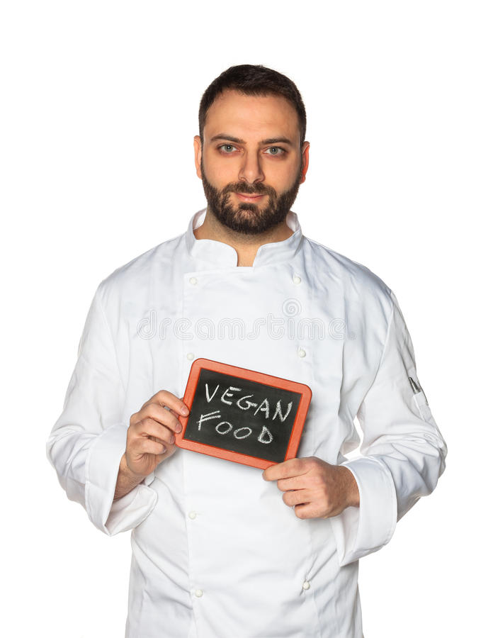Młody szef kuchni z chalkboard obraz stock