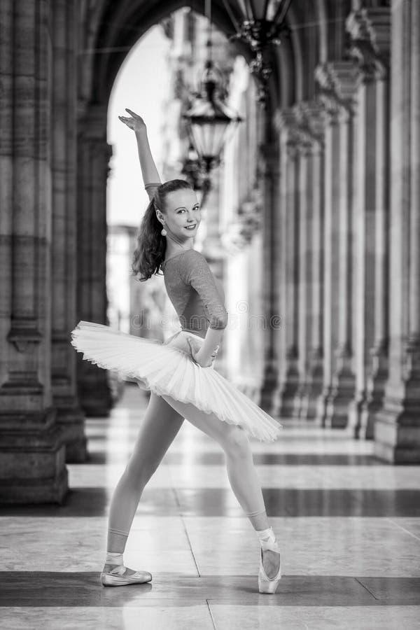 Młody tancerz z spódniczki baletnicy i turkusu trikot obraz stock