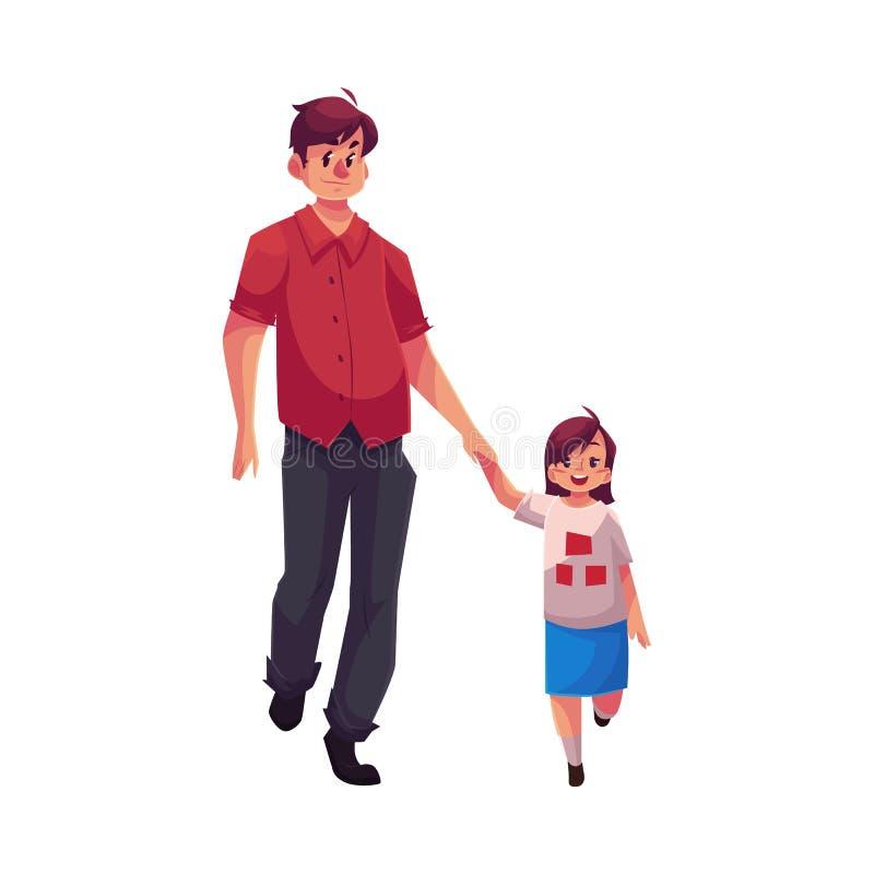 Młody tata trzyma jego małego córki odprowadzenie i rękę wpólnie ilustracji