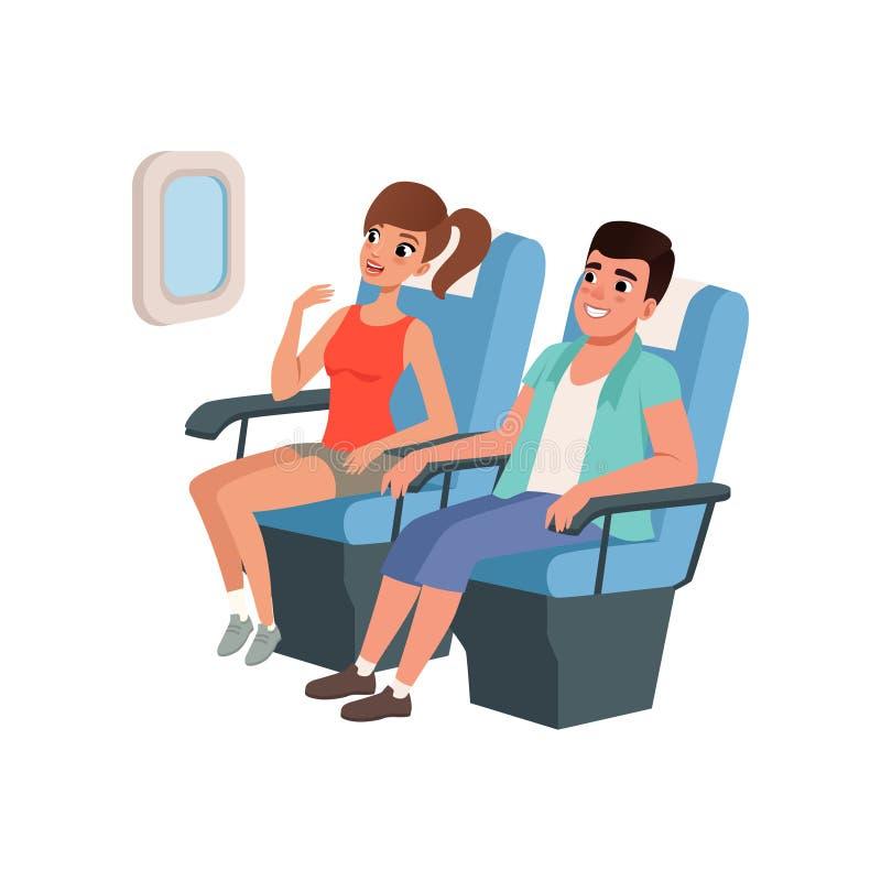 Młody turystyczny pary obsiadanie w samolotów siedzeniach, zaludnia podróżować wpólnie podczas wakacje wektorowej ilustraci dalej ilustracja wektor