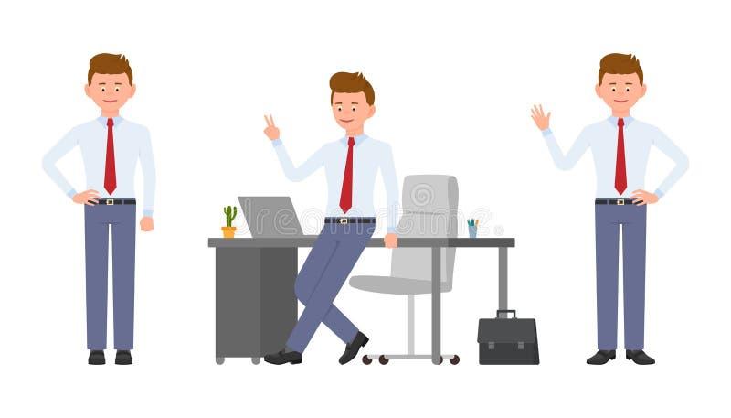 Młody uśmiechnięty biurowego kierownika falowanie cześć, zwycięstwo znak, stoi royalty ilustracja
