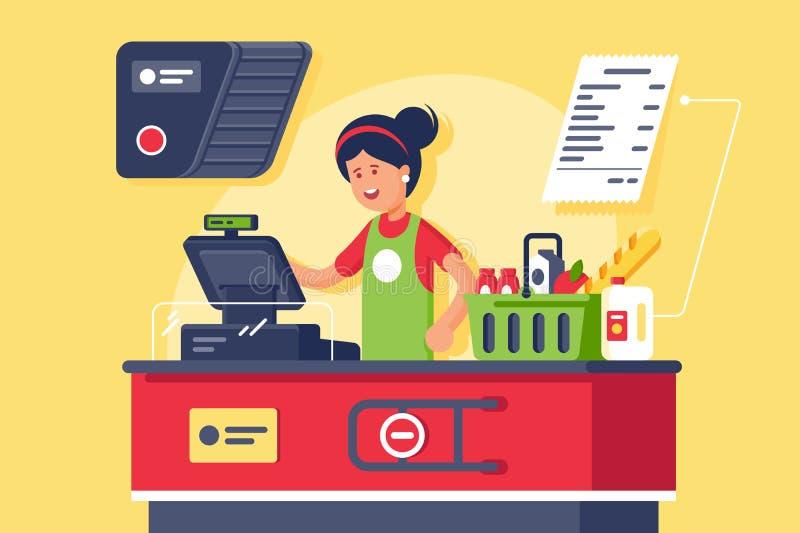 Młody uśmiechnięty kobieta kasjer przy miejsce pracy w supermarkecie, sklep ilustracji