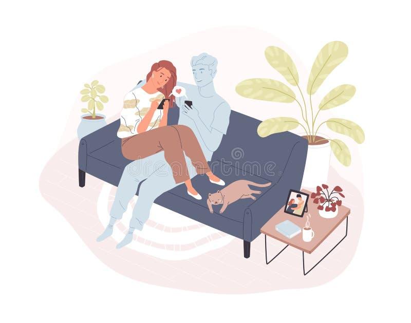 Młody uśmiechnięty kobiety obsiadanie na comfy kanapie z jej wirtualnym romantycznym partnerem, mienia smartphone i dosłanie, koc ilustracja wektor