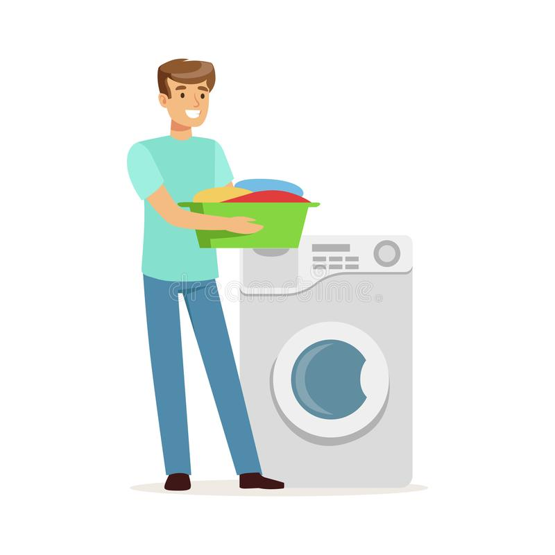 Młody uśmiechnięty mężczyzna robi pralni, trzyma basenowy pełnego brudna pralnia, domowy mąż pracuje w domu wektorową ilustrację ilustracja wektor