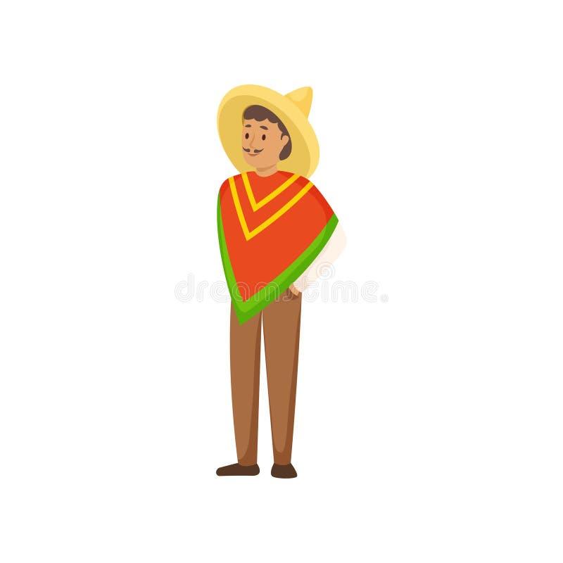 Młody uśmiechnięty mężczyzna w krajowym meksykaninie odziewa z kapeluszem royalty ilustracja