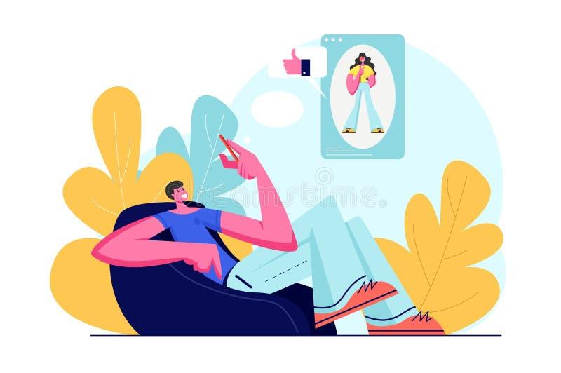 Młody Uśmiechnięty Męskiego charakteru obsiadanie na karle Komunikuje z dziewczyną w Ogólnospołecznych Medialnych sieciach, Odwie ilustracji