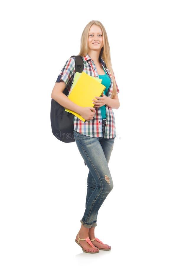 Młody uczeń odizolowywający fotografia stock
