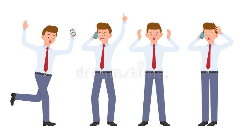Młody urzędnik opowiada w formalnej odzieży bieg w szoku, krzyczący, zaskakujący, zadziwiający, dzwoniący, ilustracji